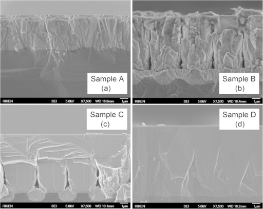 Cross-sectional SEM images show the excellent coalescence thickness of sample C compared with samples A, B, and D.