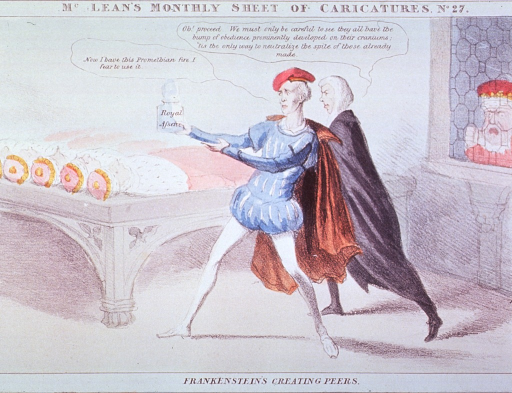 <p>The man in the center, holding a jar of Promethian fire, is about to revive the bodies lying on a bed; he is urged on by the Chancellor, as an angry man observes through a window.</p>