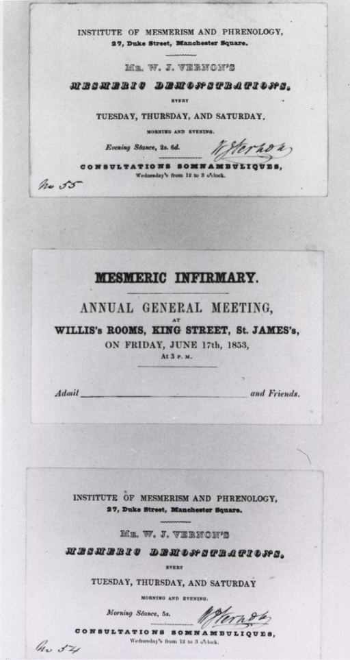<p>Three passes or tickets for lectures on mesmerism in London.</p>