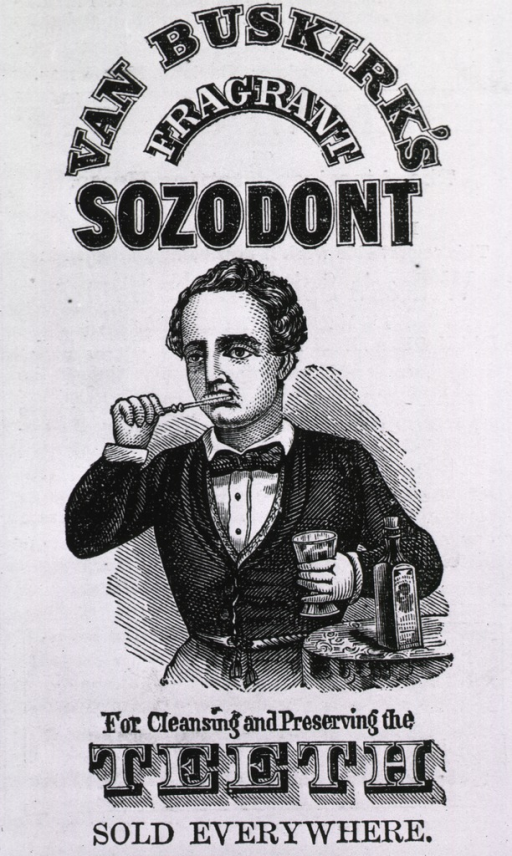 <p>Advertisement for Van Buskirk's Sozodont tooth preparation, with man holding bottle and brushing his teeth.</p>