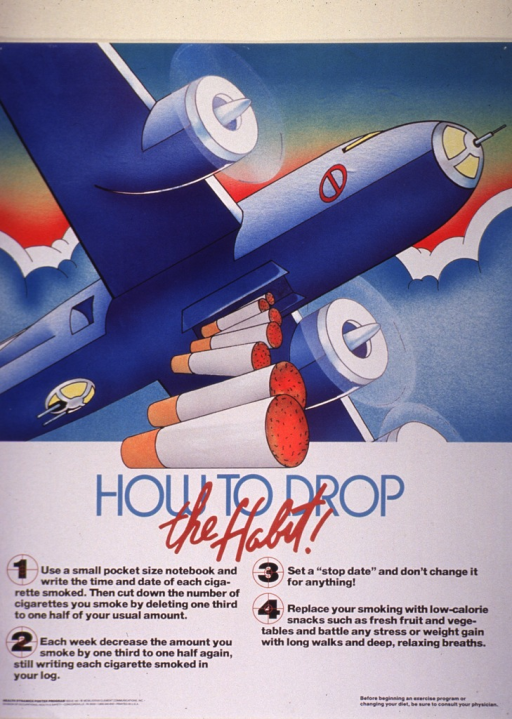 <p>Multicolor poster.  Visual image in upper portion of poster.  It is an illustration of a bomber plane flying through a partly cloudy sky.  Seven cigarettes fall from an open chamber on the underside of the plane, as though they were bombs.  Title directly below illustration.  Four steps to aid quitting are written out below the title.  The number for each step is centered in crosshairs.</p>