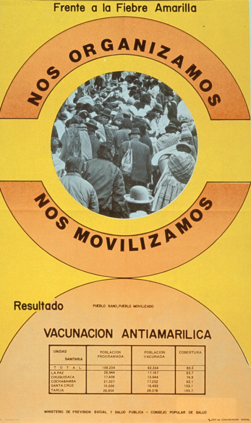 <p>Yellow and orange poster with black lettering.  Title in upper portion of poster.  Visual image is a reproduction of a b&amp;w photo of a crowd of people, perhaps on a road or sidewalk.  A table labeled &quot;vacunacion antiamarillica&quot; dominates the lower portion of the poster.  The table lists five cities, the population programmed or planned for, the actual number of vaccines given, and the percent of the goal achieved.  Publisher information below table.</p>