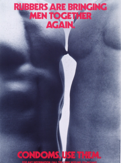 <p>Poster is a reproduction of a b&amp;w photo.  Photo shows two bare-chested men standing with nipples touching.  Title in bright pink lettering superimposed at top of photo, caption at bottom.  Publisher information on right side.</p>