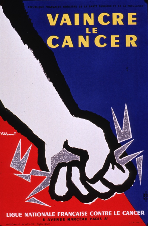 <p>Predominantly red, white, and blue poster with multicolor lettering.  Sponsor information and title at top of poster.  Visual image is an illustration of a forearm and fist.  The fist crushes something with spiky legs, perhaps a crab.  Publisher information at bottom of poster.</p>