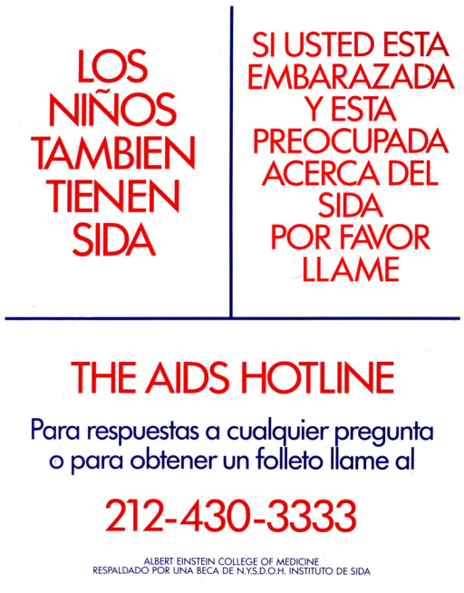 <p>White poster with red and blue lettering.  Poster is text only.  Title in upper left corner.  Additional text in upper right corner encourages pregnant women who are worried about AIDS to call the hotline.  Note near center of poster.  Publisher and sponsor information at bottom of poster.</p>