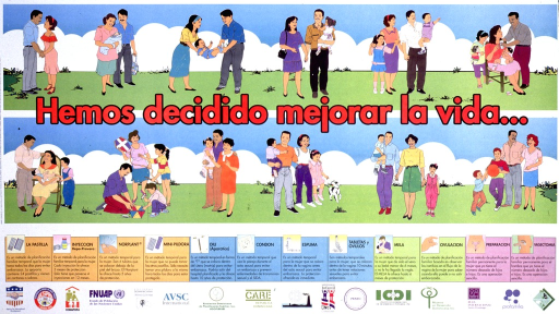 <p>Multicolor poster.  Upper portion of poster features several color illustrations of families with young children.  No family has more than two children and the children vary in age.  Title superimposed on illustrations of families.  Illustrations and descriptions of twelve methods of contraception appear in lower portion of poster.   Publisher and sponsor information at bottom of poster.  Poster intended for use in Dominican Republic.</p>
