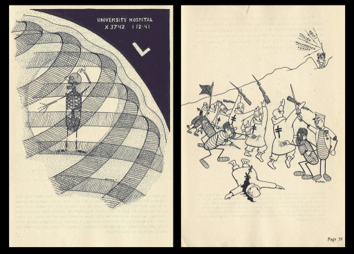 <p>Images of 2 cartoon drawings of Huber, a tuberculosis germ.  The first cartoon shows an X-ray of Huber inside a the victim's lung.  The second cartoon shows Huber and his germ friends attacking the victim's defense system.  Huber the tuber, p. 35, 59.</p>