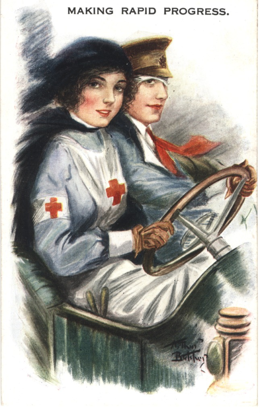 <p>Postcard featuring a color illustration of a nurse driving an automobile with a patient for a passenger. The nurse has dark hair, and she is wearing a white apron and a white armband, which both have a red cross. She is wearing brown gloves and has both hands on the steering wheel. The passenger has a head bandage, which is mostly coverd by a military hat. He also has a red necktie, which is blowing in the wind.</p>