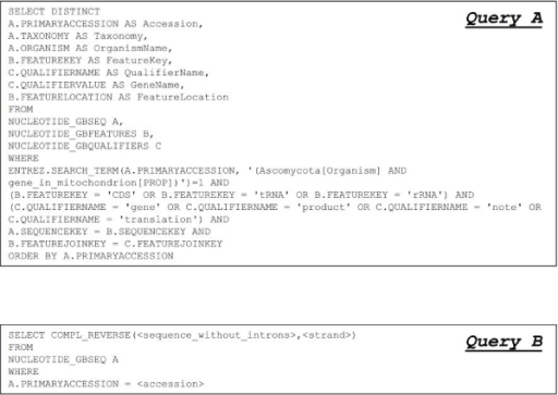 "SQL queries sent against the federated DB to extract information from GenBank. Query A retrieves from GenBank the data useful for the subsequent statistical analysis. The search criteria, included in this query, are shown. They allowed to extract the records related to ""Ascomycota"" mitochondrial genes containing one term as ""CDS"", ""tRNA"", or ""rRNA"" in the field feature key and one of the terms ""gene"", ""product"", ""note"" or ""translation"" in the qualifier name field. Query B is used to recover from GenBank the DNA sequences corresponding only to the coding part of each gene."