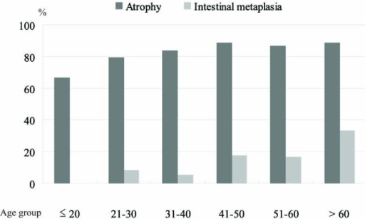 Prevalence of gastric atrophy and intestinal metaplasia among H. pylori-infected Vietnamese by age group.
