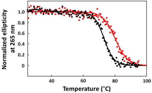Melting curves for CA-16 in the presence (red) and absence (black) of CPT1, which were obtained by plotting the ellipticity at 265 nm against the temperature.