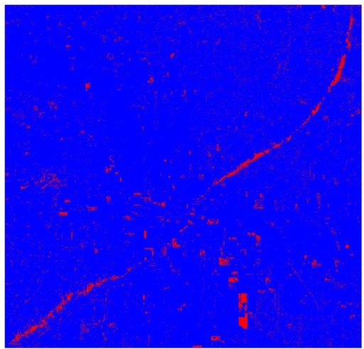 An output map of image difference bands 1, 2, 3, 4, 5, and 7 using a supervised approach (i.e., maximum likelihood). Note: blue color represents non-damaged areas and red color represents damaged areas.