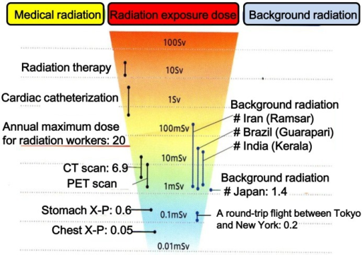 Radiation exposure quick reference – quoted from the website of the NationalInstitute of Radiological Sciences (partially modified).