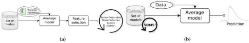SDMS2 design and usage in the real-time application. (a) Sensor-dependent model selection system (SDMS2); (b) Implementation of the system for real-time applications.