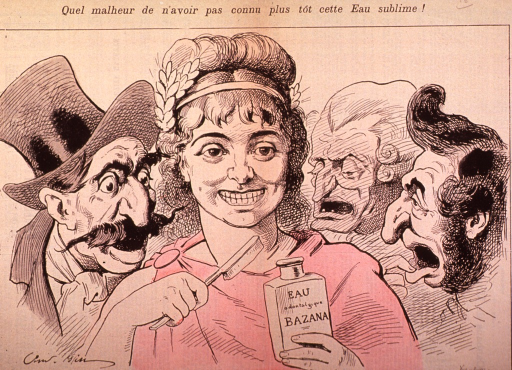 <p>Young women holding bottle of Eau odontologique Bazana, with toothbrush, with three distressed men looking on.</p>