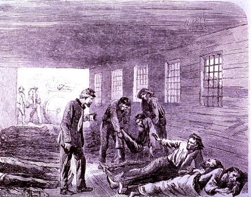 <p>Among patients in a shed, a soldier gives one water, while the dead are being removed.</p>