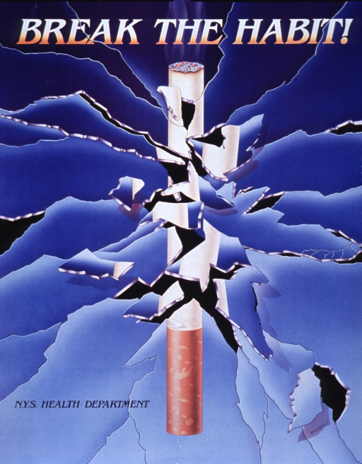 <p>Blue poster with multicolor lettering.  Title at top of poster.  Visual image is a cigarette on a blue background.  The whole image appears to be shattered, with many cracks and disjointed or missing pieces.</p>