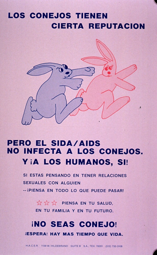 <p>Predominantly white poster with blue lettering.  Initial title phrase at top of poster.  Visual image is an illustration of one rabbit chasing another.  Remaining title text below illustration.  Caption in lower portion of poster.  Caption encourages thinking through the consequences of having sex and contemplating one's health and future.  Publisher information at bottom of poster.</p>