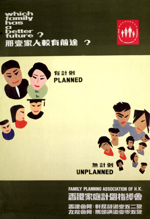 <p>Olive green and yellow poster with black and white lettering.  All text given in both English and Chinese.  Title in upper left corner.  Publisher logo in upper right corner.  Center of poster features two illustrations, one of a planned family, the other of an unplanned family.  The planned family has just three children.  All members are well groomed and dressed.  The eldest child wears a mortar board.  The unplanned family has nine children.  All members are dressed in indistinct clothing and many appear shaggy or unkempt.  Publisher name and contact information in lower right corner.</p>