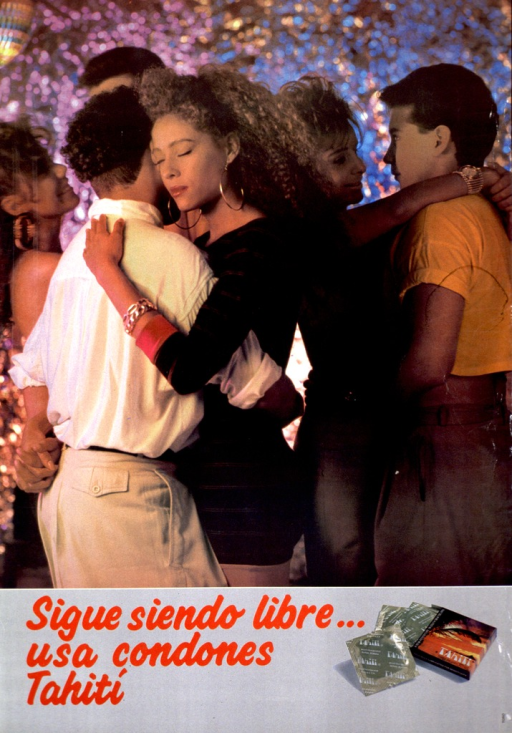 <p>Multicolor poster with red lettering.  Most of poster is a color photo reproduction featuring young male-female couples dancing.  Title and photo of condoms at bottom of poster.</p>