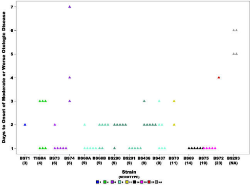Rapidity of otologic disease onset.Scatter plot showing the number of days it took for chinchillas inoculated with each of the S. pneumoniae clinical strains to develop moderate or worse (score ≥2) otologic disease, where each triangle represents a single animal. Statistical analysis of all the strains revealed a significant difference, the p-value for the ANOVA analysis was 9.6e−15, and for the Kruskal-Wallis test was 2.4e−5. Animals are not included that did not develop local disease before the end of the experiment or before reaching a moribund state. Colors represent different serotypes, and shades of the same color different strains of the same serotype or in the case of BS68(9) two cohorts from different experiments. NA: non applicable.