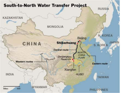 Map showing the routes of the South-to-North Water Transfer Project in China.