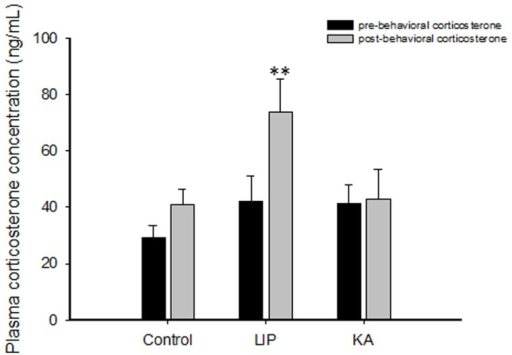 Plasma corticosterone levels assessed before (pre-behavioral phase) and after (post-behavioral phase) the behavioral tests.The results are presented as the mean ± SEM. ** P<0.01 vs. the corresponding pre-behavioral data from the same group. For this analysis, strains were pooled. Abbreviations: LIP: lithium-pilocarpine; KA: kainic acid.
