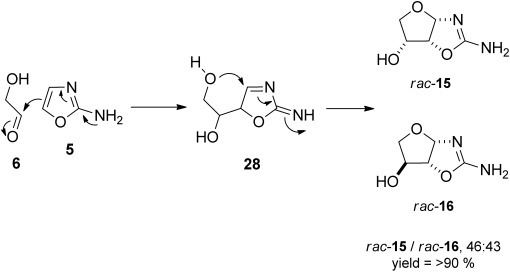 The reaction of isolated 2-aminooxazole 5 with glycolaldehyde 6 under neutral unbuffered conditions in water.