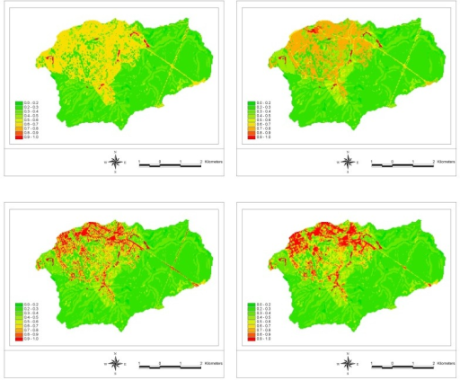 Runoff coefficient maps for scenario 1 (upper left), scenario 2 (upper right) and scenario 3 (lower left), based on Ikonos-derived land-cover data, and for scenario 3 (lower right), based on Landsat ETM+-derived land-cover data.