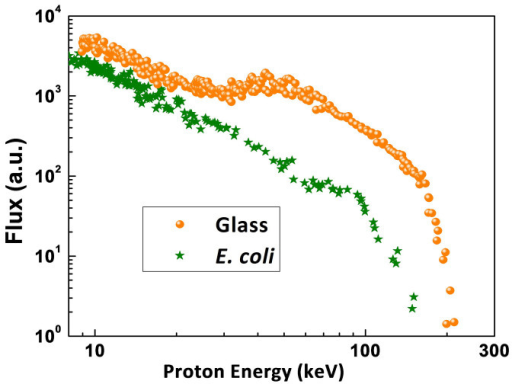 Proton energy measurements.Energy spectra of the protons derived from the TPS ion traces (figure 2a and 2b).