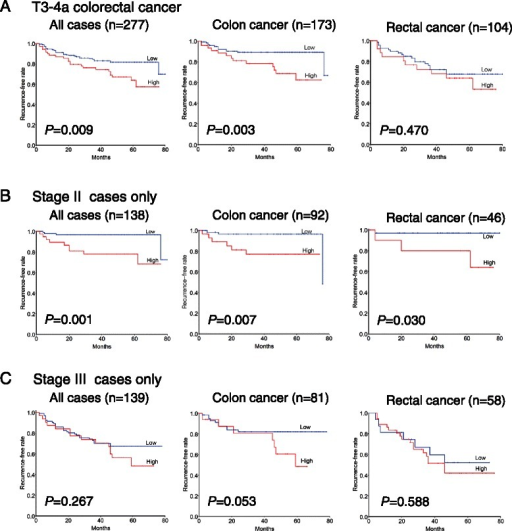 Association between miR-21 expression and recurrence-free survival in patients with T3-4a colorectal cancer. Kaplan-Meier survival curves for recurrence-free survival in all (A), stage II (B) and stage III (C) cancer patients according to miR-21 expression status. (A) High miR-21 expression is associated with recurrence-free survival in colon cancer patients but not in rectal cancer patients. (B) For the 138 patients with stage II cancer, the association between high miR-21 expression and recurrence-free survival is statistically significant only in colon cancer patients. (C) Among 277 stage III cancer patients, high miR-21 expression is not associated with poor recurrence-free survival.