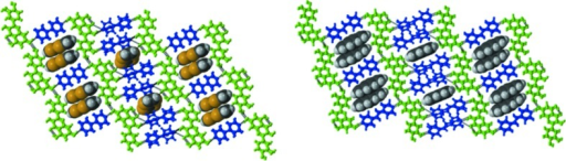 Ternary design strategy. TTF (top) and PYR (lower) as template molecules in QUE:44BP and QUE:DPE-I cocrystals. These crystal structures also highlight tghe virtual selection of Conf 6B and synthon B.