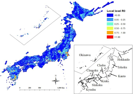 Risk map of FMD transmission in Japan. The bottom right image shows the regional areasin the country.