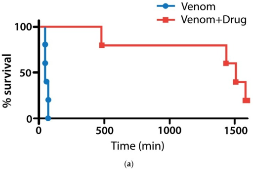 Pretreatment with varespladib protects against M. fulvius envenomation. (a) Five of 5 (100%) of mice given 4 mg/kg SC injections of M. fulvius venom died quickly with previously described paralytic and hemorrhagic complications. Zero of 5 (0%) of mice pre-treated with varespladib (4 mg/kg) several minutes before venom injection died within 8 h; (b) from a different experiment with methyl-varespladib, but exemplary of coral snake bite syndrome and effect of the study treatments: Left, untreated mouse 2 h after venom administration showing effects of venom including (i) postural weakness; (ii) vasodilation (ears) and (iii) ptosis; Right, methyl-varespladib treated mouse. Both mice have piloerection.