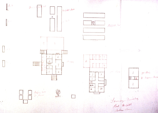 <p>Outline plan, in red and black ink, for seminary building at the government hospital in Jackson, Tenn. Also shown are tents used as Nurses' quarters.</p>
