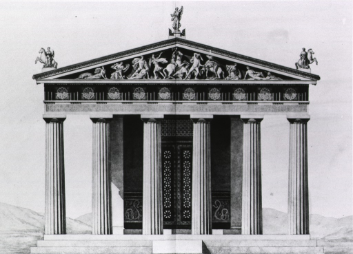 <p>Exterior view of the facade to the Temple of Aesculapius.</p>