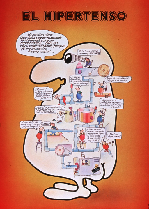 <p>Predominantly orange poster with black lettering.  Title at top of poster.  Visual image is an abstract illustration of a human figure.  The figure speaks the note text, saying that though the doctor wants him to keep taking his blood pressure medication, he is going to stop since he feels much better.  The body of the figure is filled with pipes and many workers.  The workers mention several problems, such as hard arteries and a pipe that is about to burst.</p>