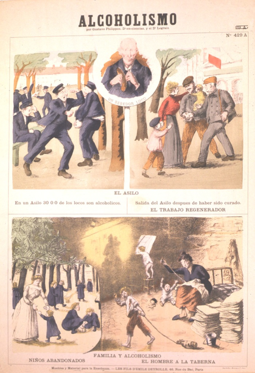 <p>Three scenes describe the alcoholic's world.  The first scene is in the asylum yard where a man is punching another man. The second scene is after treatment. The man is holding his baby and is welcomed by his wife and child, and another man is shaking his hand. The third scene is the family life of the alcoholic.  A nurse and abandoned children are on the grounds of an institution. At the home of an alcoholic the man is away at the tavern. A woman is sitting on a bed sewing. A toddler is on the floor with arms raised and mouth opened.  Another child is on a chair looking out the window, wearing a only shirt. A third child is dragging a bottle on a string. Through the wall is an image of a shadow of a woman with a child on her back and one by her side walking away.</p>
