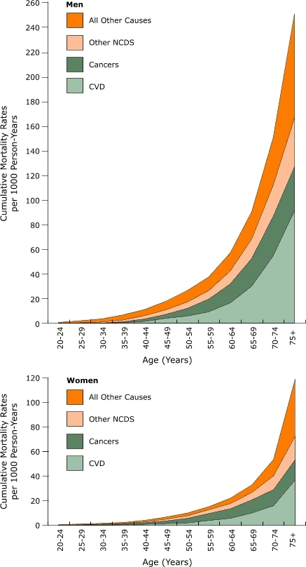 Cumulative mortality rates for NCDs among men and women aged 20 years and older, Bavi district, Vietnam, 1999–2003.