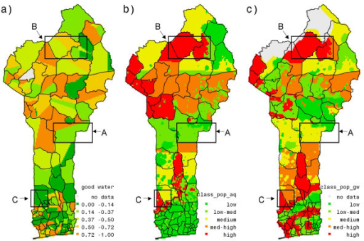 (a) Accessibility to good water source, (b) aquifer suitability stress index, (c) ground water quality stress index. Figure 3 (a) is created by averaging binary variable, GW, of accessibility to good water source at household level to the cluster level. In figures 3 (b) and (c) higher values indicate poorer aquifer suitability under higher population densities and poorer ground water quality under higher population densities respectively.