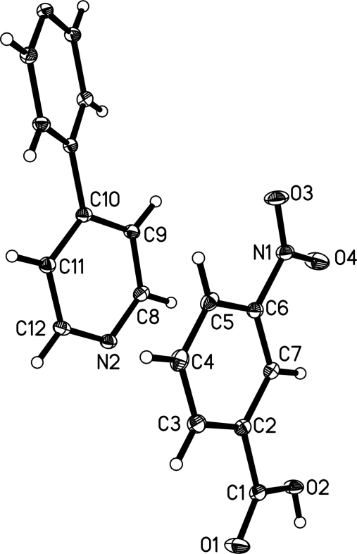 A view of the molecular structure of the title compound, showing the atom-numbering scheme. Dispacement ellipsoids are drawn at the 30% probability level.