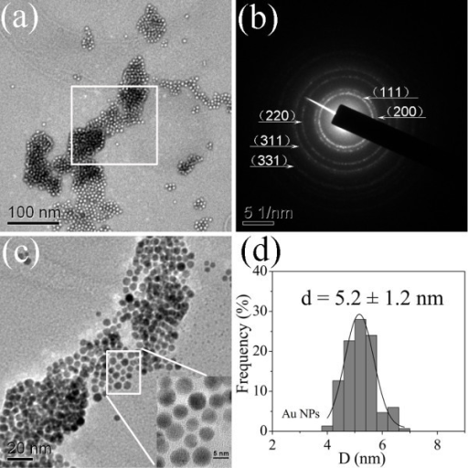 TEM images with (a) low- and (c) high-magnification, (b) SAED pattern and (d) the size distribution of synthesized Au NPs in sample 4.