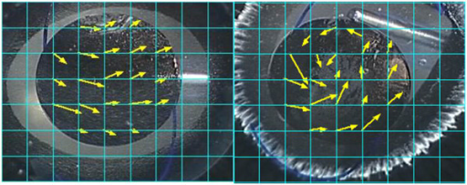 Movement of particles across a grid during next 0.2 seconds in a porcine eye showing Technique 1 (left) and 2 (right). The yellow arrows indicate the distance and direction in which particles moved for 0.2 seconds.