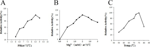 Effects of temperature, pH and Mg2+ on RKOD DNA polymerase activity.(A) Effect of pH on DNA polymerase activity. (B) Effect of Mg2+ on DNA polymerase activity. (C) Effect of temperature on DNA polymerase activity. The standard assay described in the text was performed with 1 U of purified DNA polymerase. These experiments were repeated for 3 times.