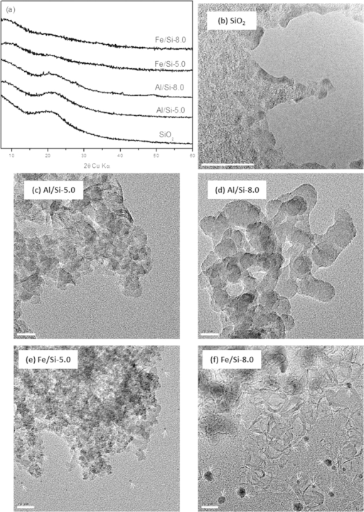 PXRD patterns and TEM images of raw SiO2 and Al/Si, Fe/Si coprecipitates synthesized at pH 5.0 and pH 8.0 (Al/Si-5.0, -8.0, Fe/Si-5.0 and -8.0). The white bars represent 20-nm scales and the white arrows pointed out the plausible Fe precipitates.