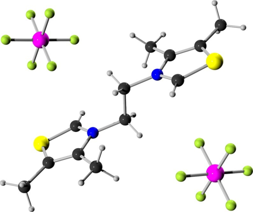Ball-and-stick model [42–43] of a single crystal X-ray structure of hexafluorophosphate salt 1b (CCDC 1472789). Color code: black carbon, grey hydrogen, yellow sulfur, blue nitrogen, magenta phosphorus, green fluorine.