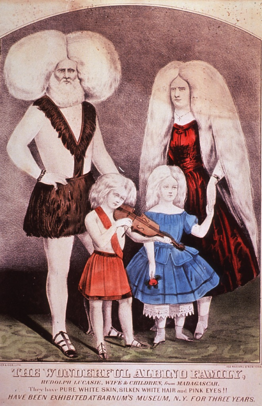 <p>Full length view of Rudolph Lucasie, his wife and children.</p>