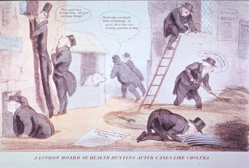 <p>A group of London physicians sniffing about a courtyard for signs of cholera.</p>
