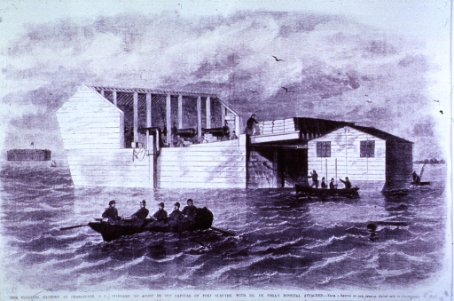 <p>Exterior view of the floating battery in Charleston Harbor, with Dr. Vega's hospital attached.</p>