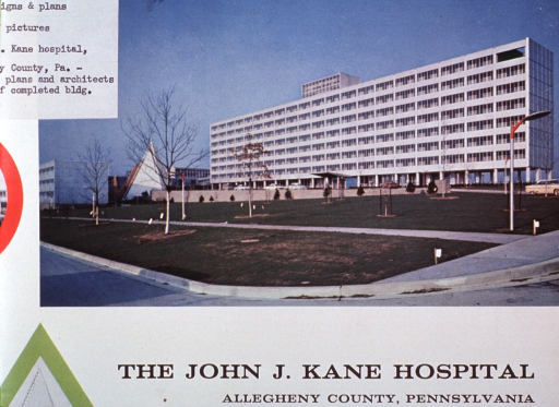 <p>Designs, plans and architect's sketch of the completed building of the John J. Kane Hospital.</p>